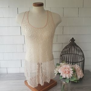 FREE PEOPLE INTIMATLEY  blush pink Sequin tank